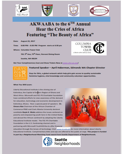"AKWAABA to the 6th Annual  Hear the Cries of Africa  Featuring ""The Beauty of Africa"""
